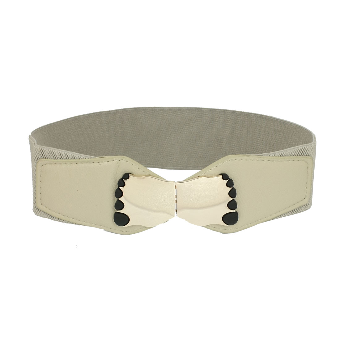 Women Sliver Tone Metal Feet Shaped Buckle Gray Elastic Cinch Belt