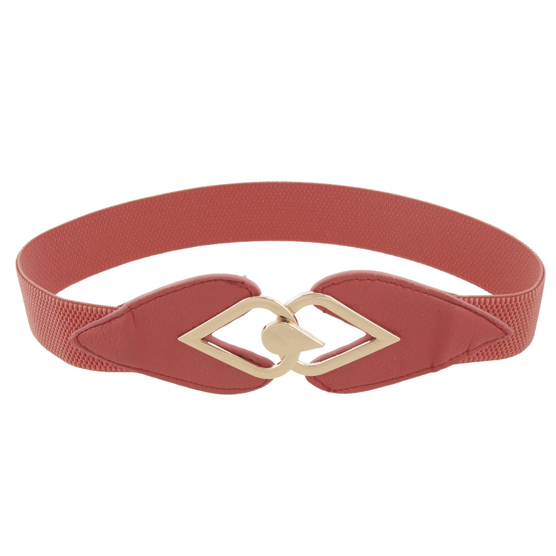 Woman Raindrop Shaped Metal Buckle Watermelon Red Stretch Cinch Belt