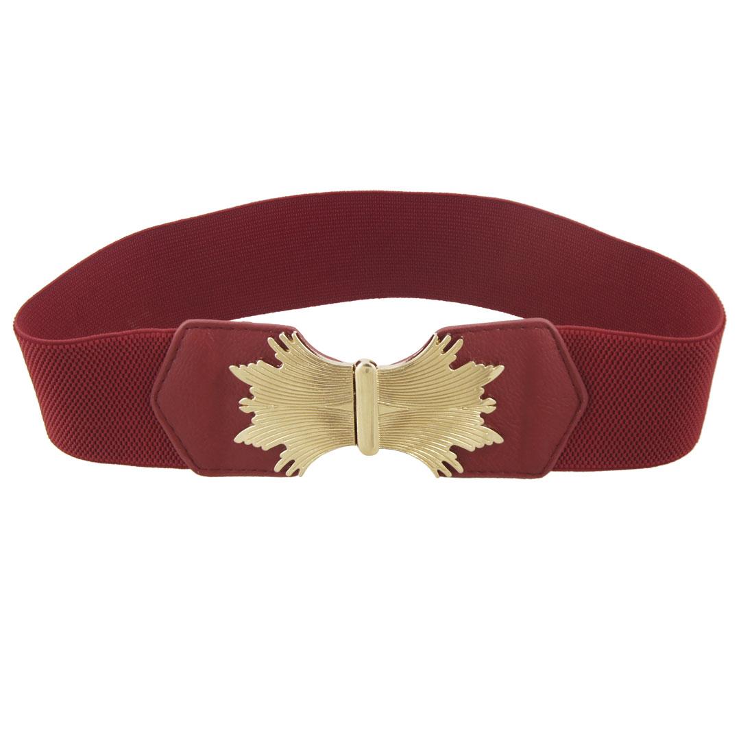 Women Gold Tone Metal Buckle Red Textured Elastic Wide Cinch Belt