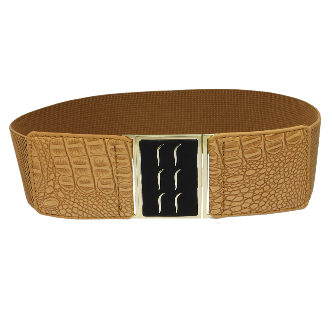 Brown Crocodile Pattern Faux Leather Elastic Cinch Belt for Woman