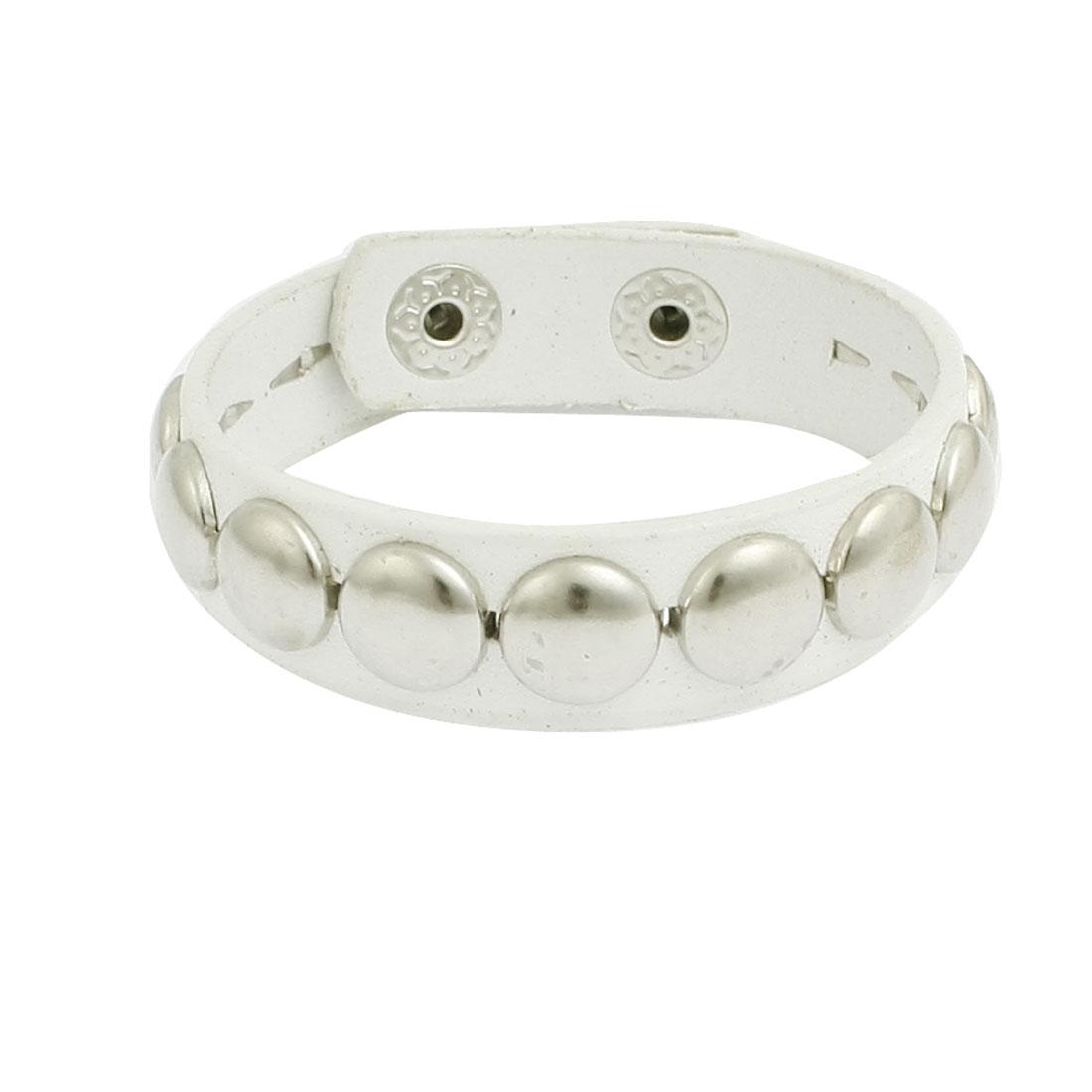 Woman Man Studded Detail White Faux Leather Bangle Bracelet