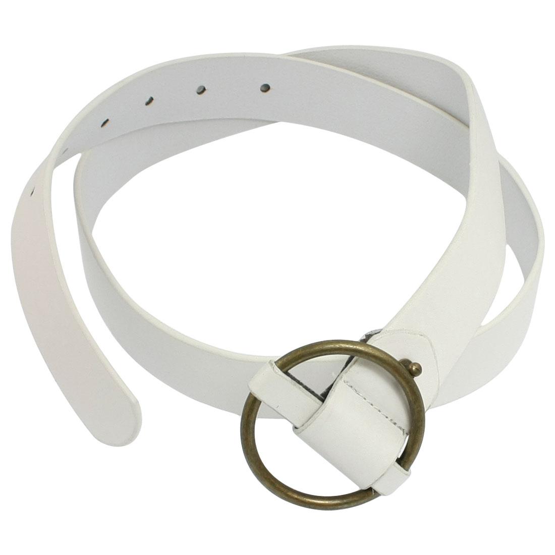 Ladies White Faux Leather Interlocking Buckle Adjustable Waist Belt