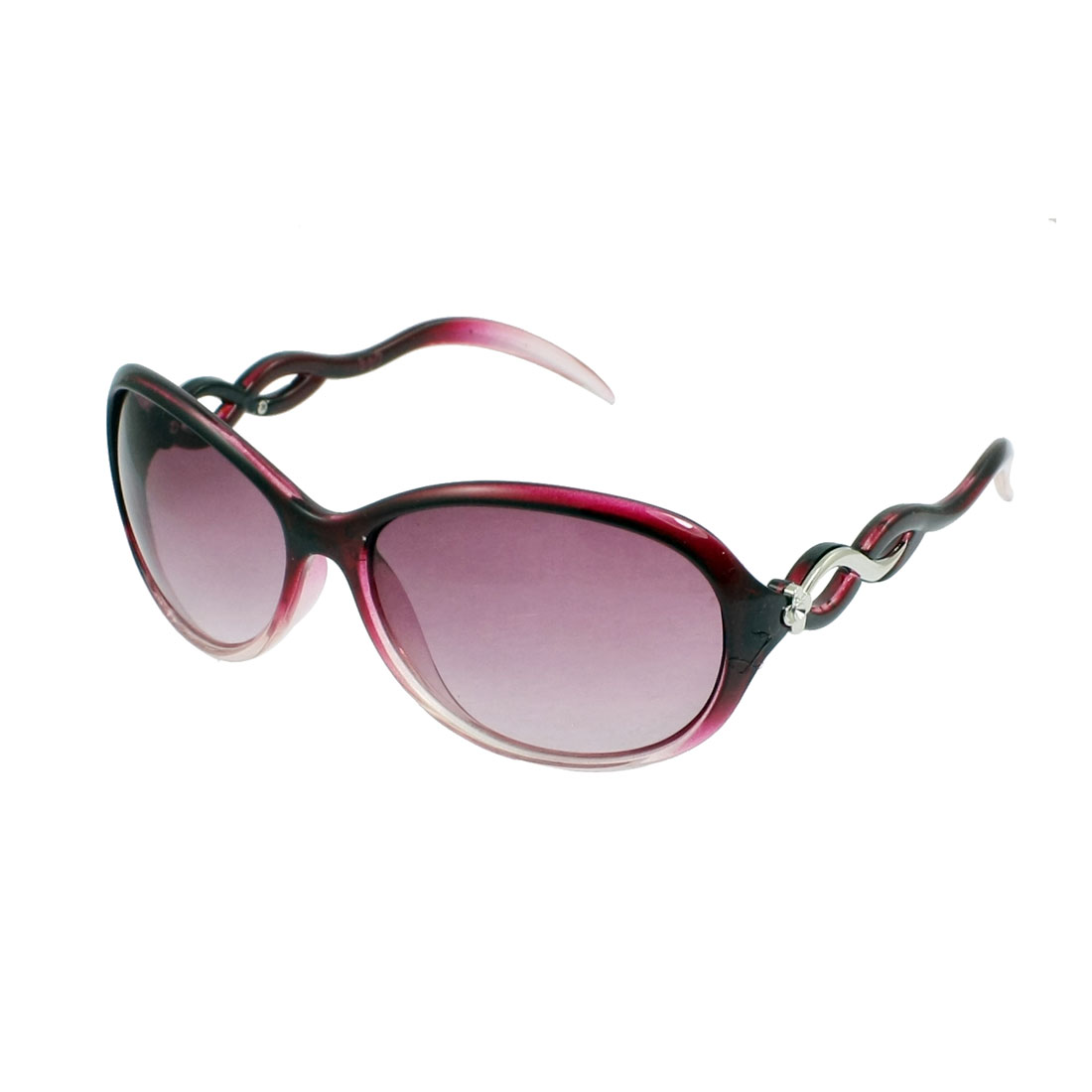 Lady Women Plastic Full Rim Frame Clear Purple Lens Sunglasses