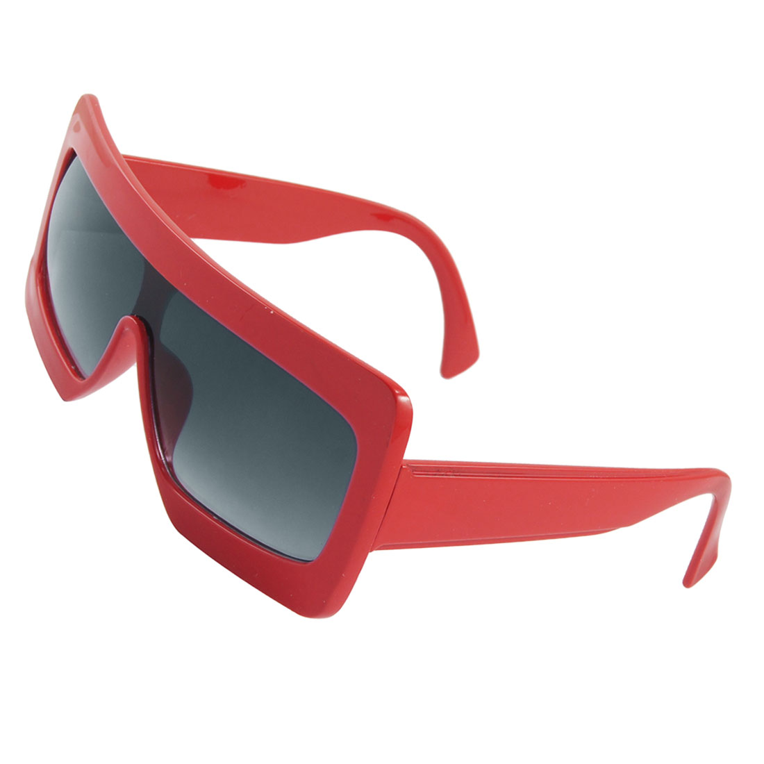 Red Rectangle Plastic Frame Suqare Lens Sunglasses Unisex