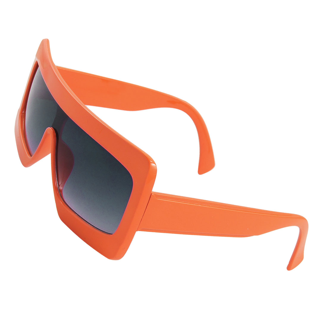 Orange Plastic Rectangle Frame Square Lens Sunglasses Unisex