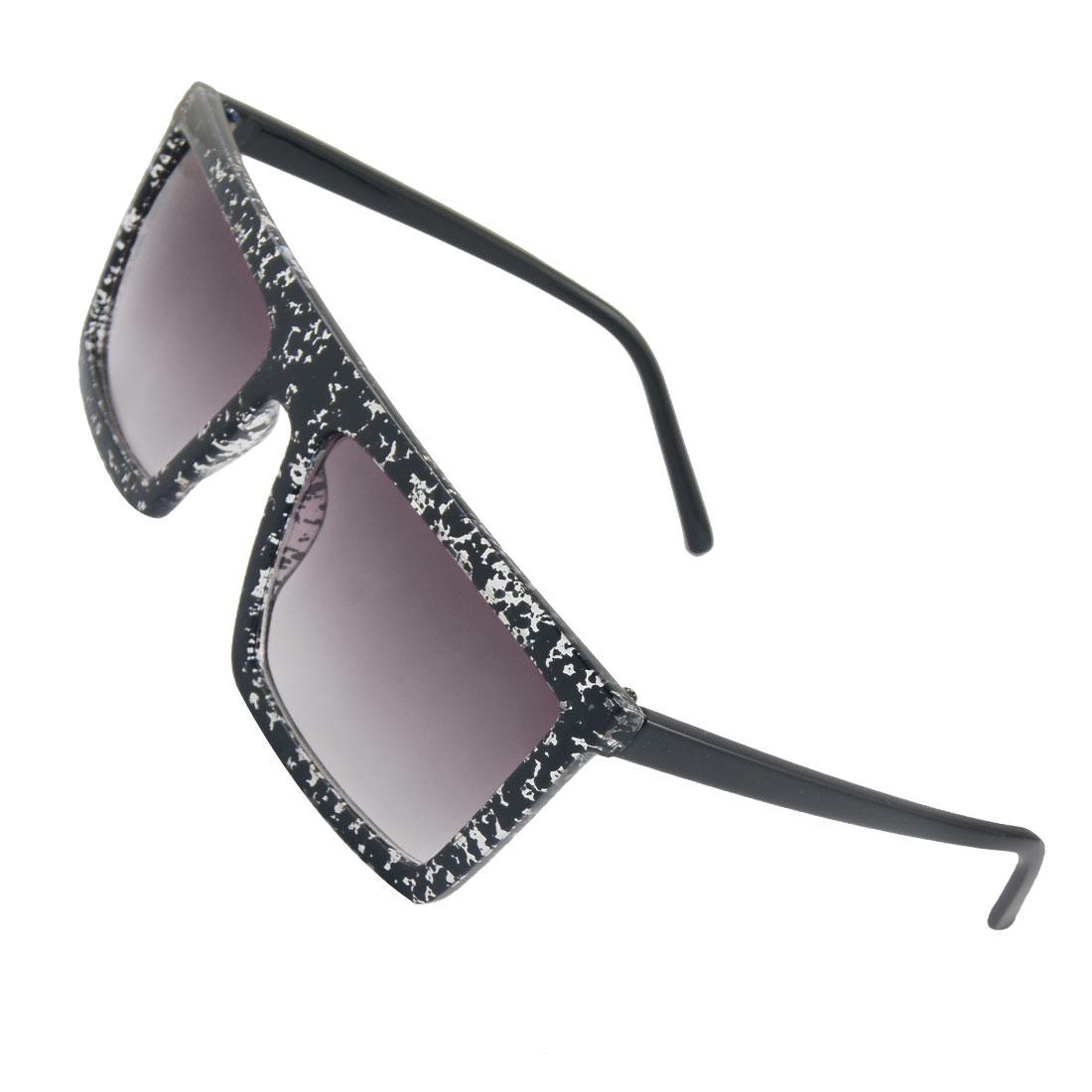 Unisex Black Clear Plastic Frame Rectangle Lens Sunglasses