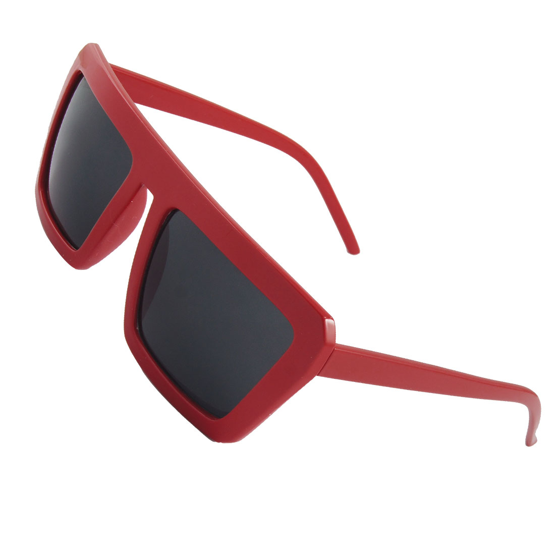 Unisex Red Plastic Square Frame Gray Lens Eye Sun Shade Sunglasses