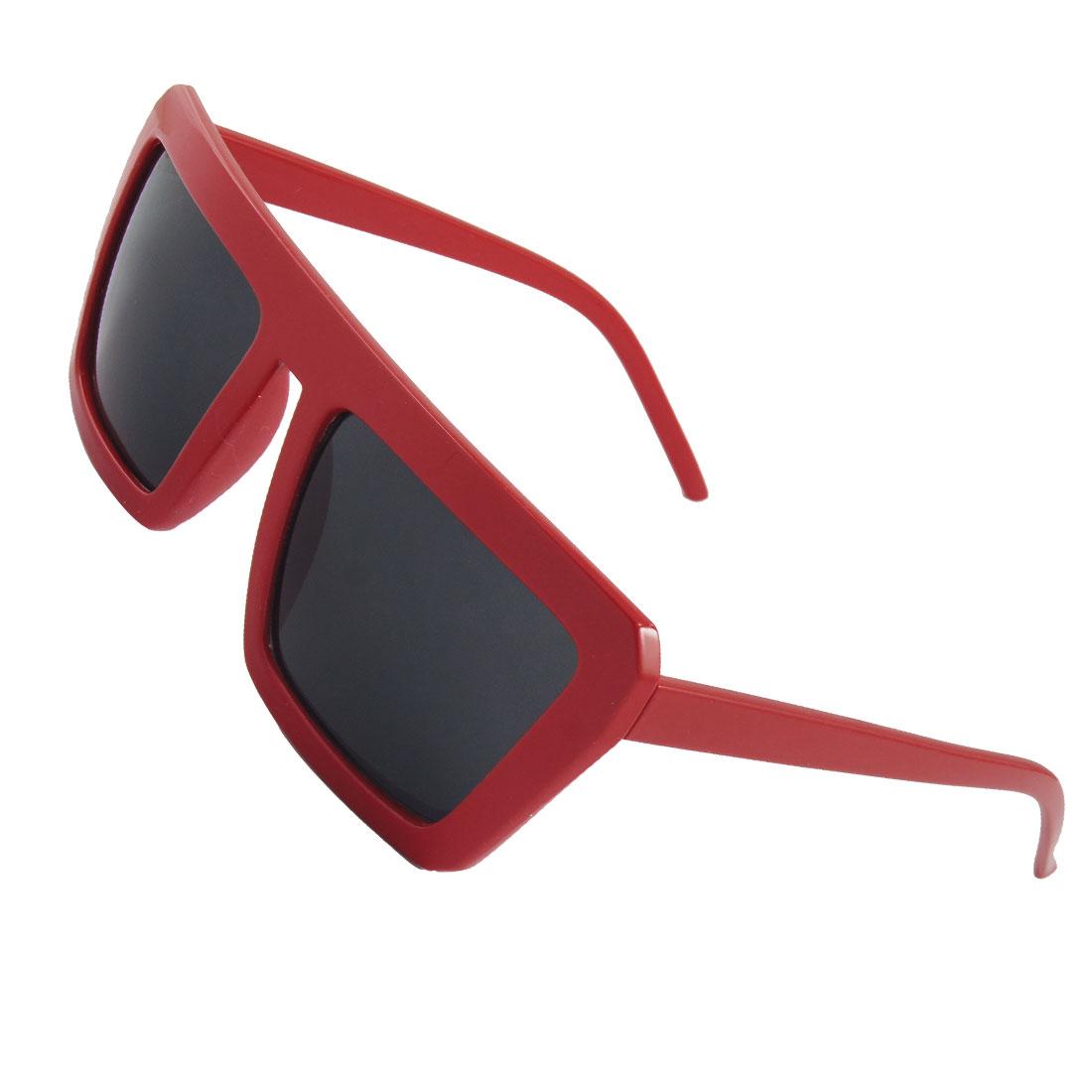 Unisex Red Plastic Square Frame Gray Lens Eye Sun Shade Sunglasses