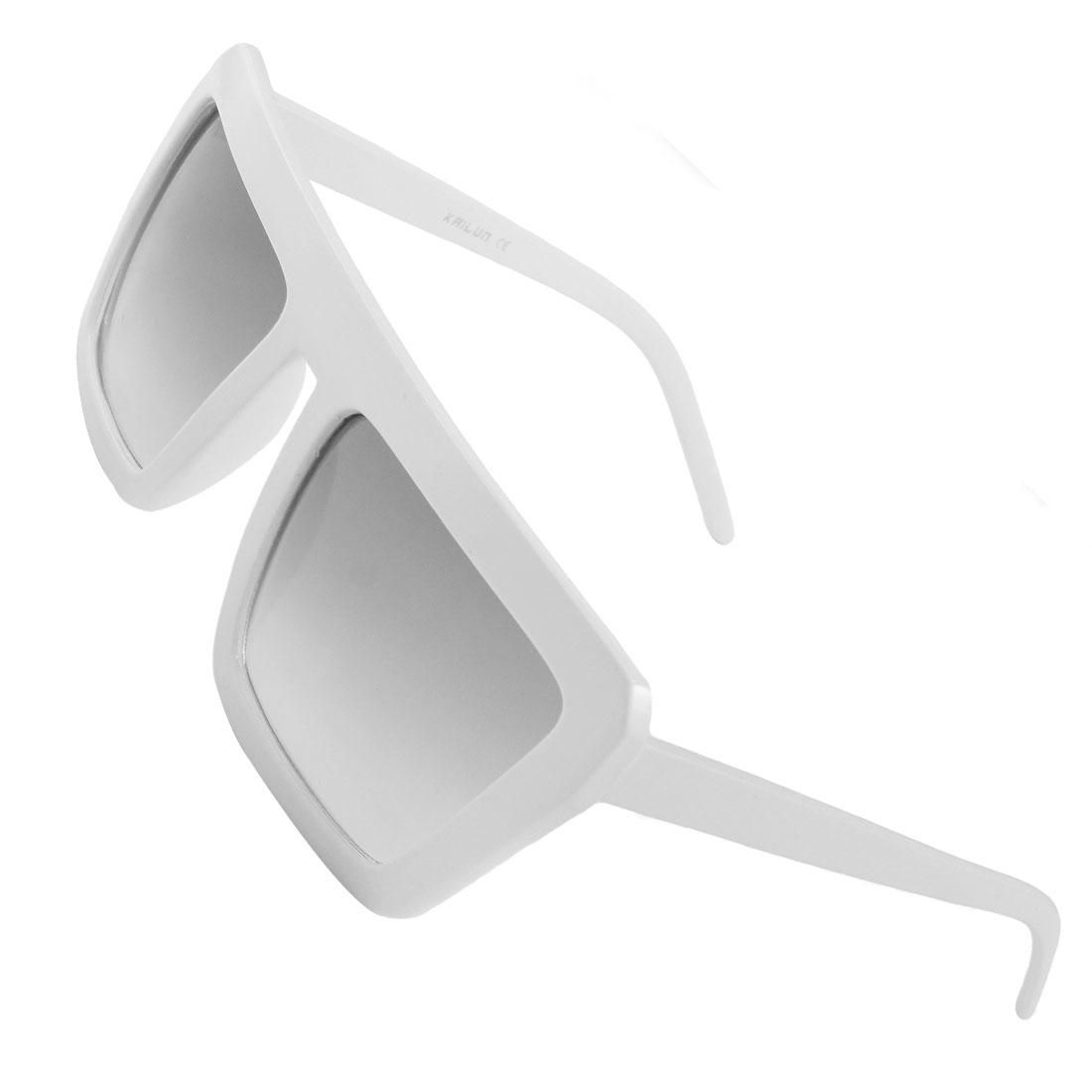Unisex White Plastic Full Rim Square Lens Leisure Sunglasses