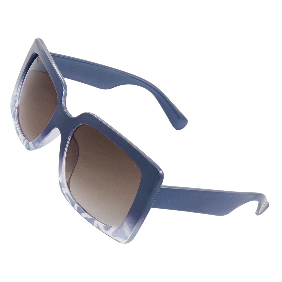 Blue Plastic Rectangle Frame Sports Leisure Sunglasses Unisex