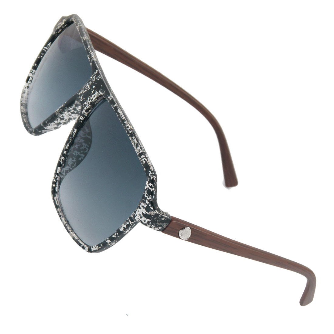 Women Men Black Clear Frame Rectangle Lens Brown Arms Sunglasses