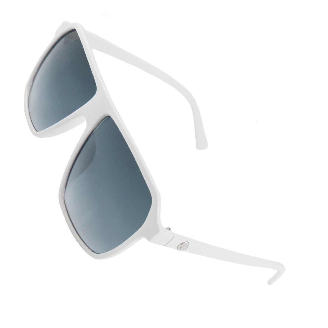 Wome Men White Rectangle Full Frame Plastic Arms Sunglasses