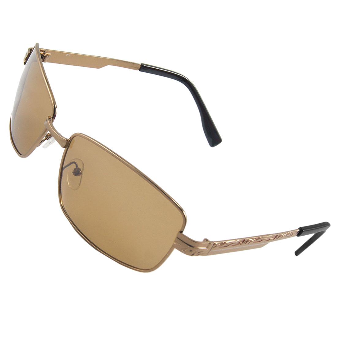 Unisex Rectangle Tawny Lens Metal Full Frame Sports Polarized Sunglasses