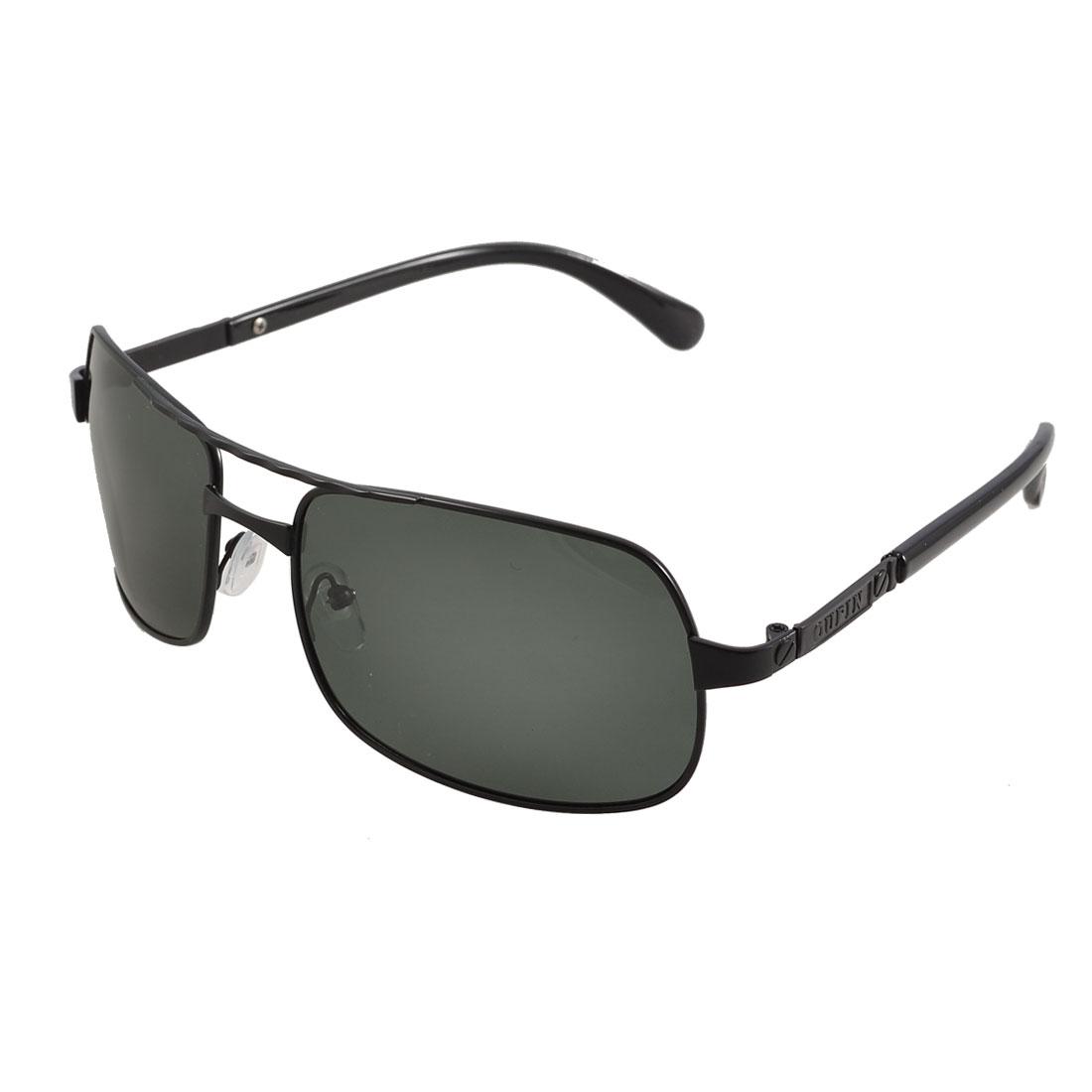 Women Men Black Rectangle Full Frame Double Bridge Polarized Sunglasses