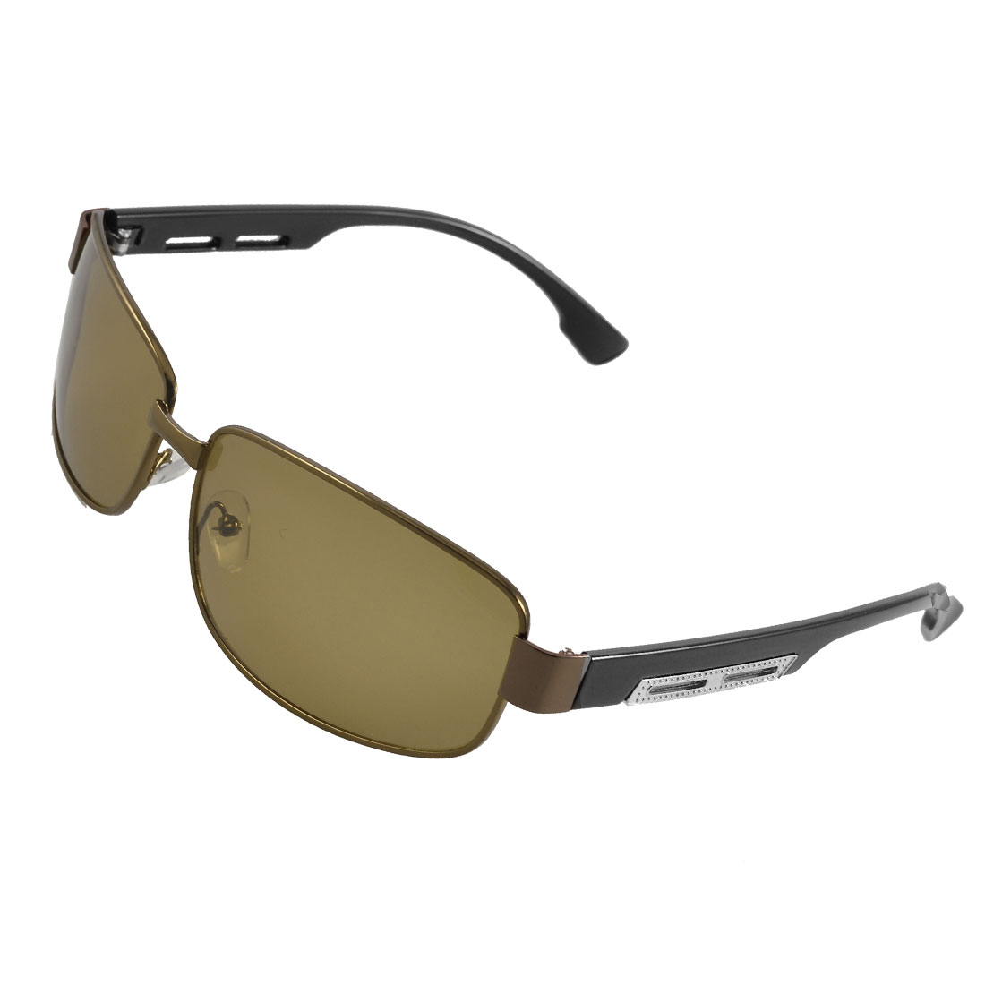 Unisex Coffee Metal Full Frame Tawny Lens Sports Polarized Sunglasses