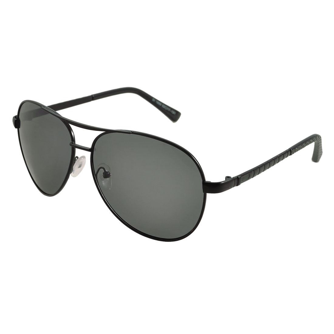 Women Men Black Full Frame Oval Lens Double Bridge Driving Polarized Sunglasses