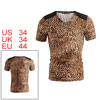 Mens Trendy Brown Coffee Leopard Printed Faux Leather Decor Stylish T-shirt Tops S