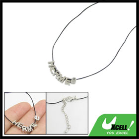 Ladies English Letters Detail Pendant String Necklace Silver Tone