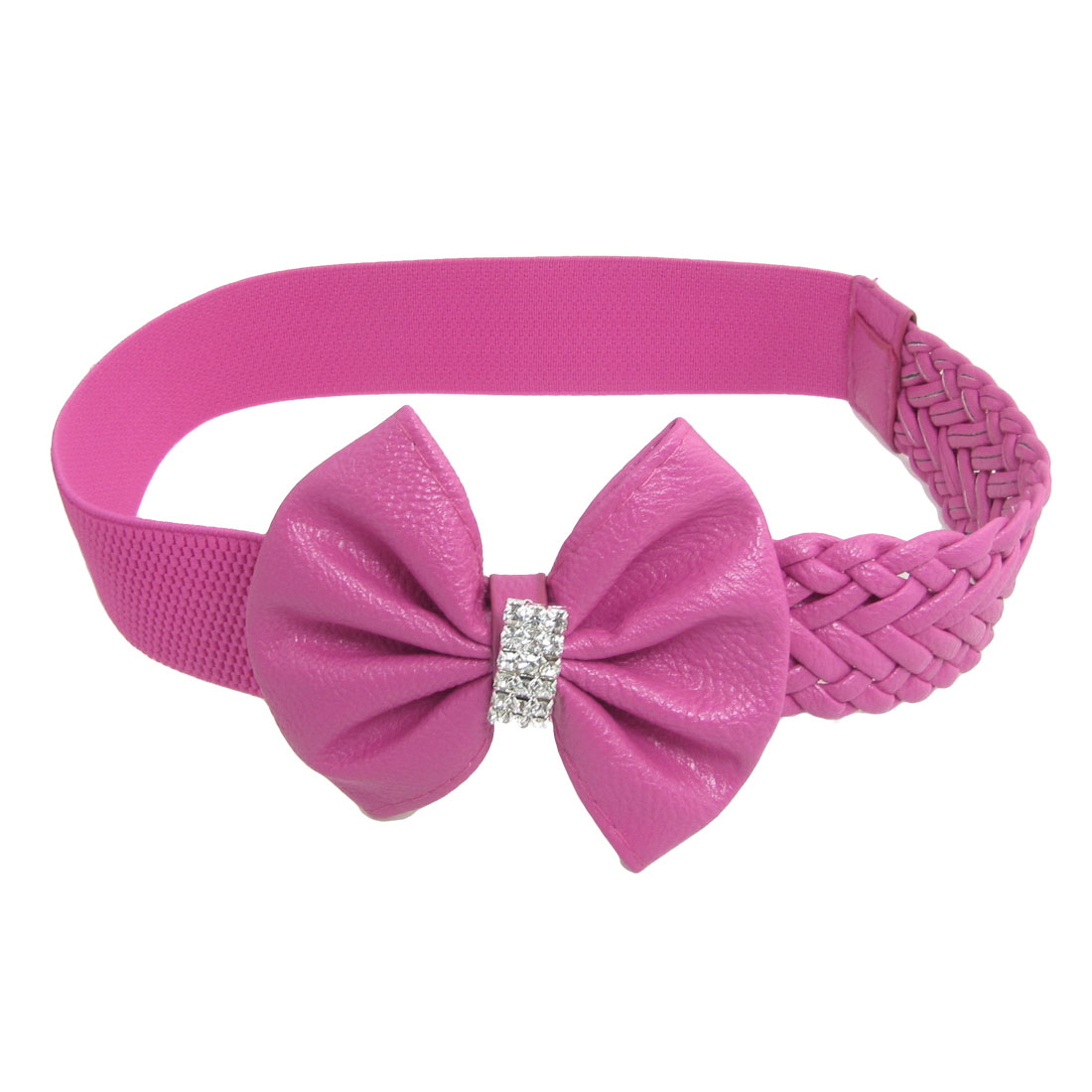 Faux Leather Bowknot Accent Stretchy Waist Belt Fuchsia for Lady