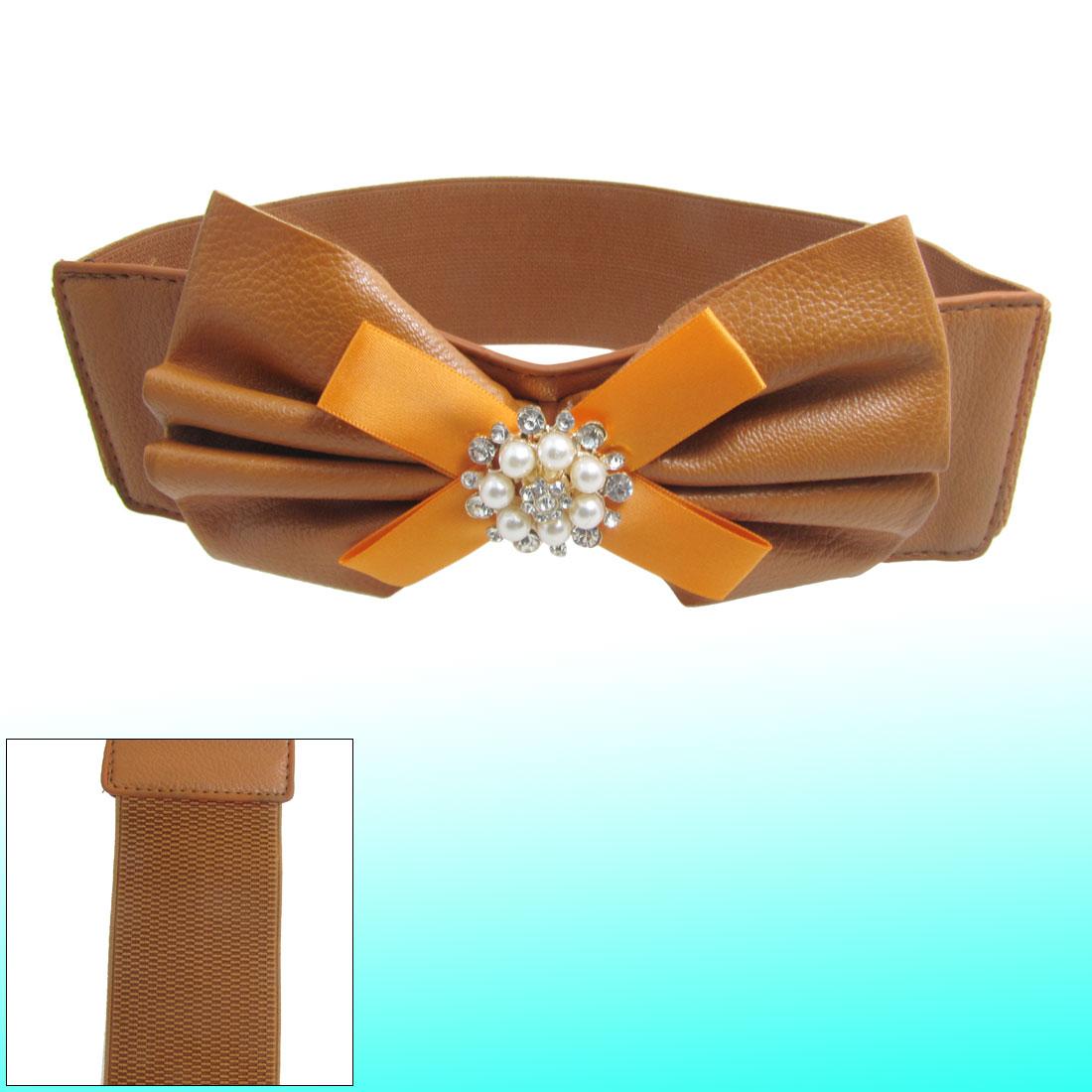 Woman Brown Faux Leather Bowknot Decor Press Button Closure Cinch Belt
