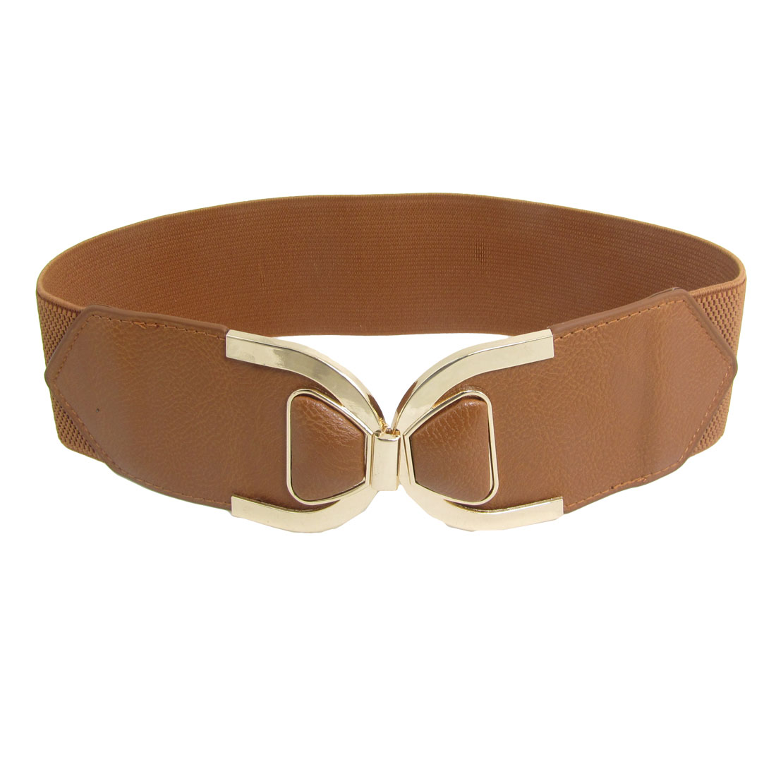 Ladies Textured Faux Leather Interlocking Buckle Brown Cinch Belt