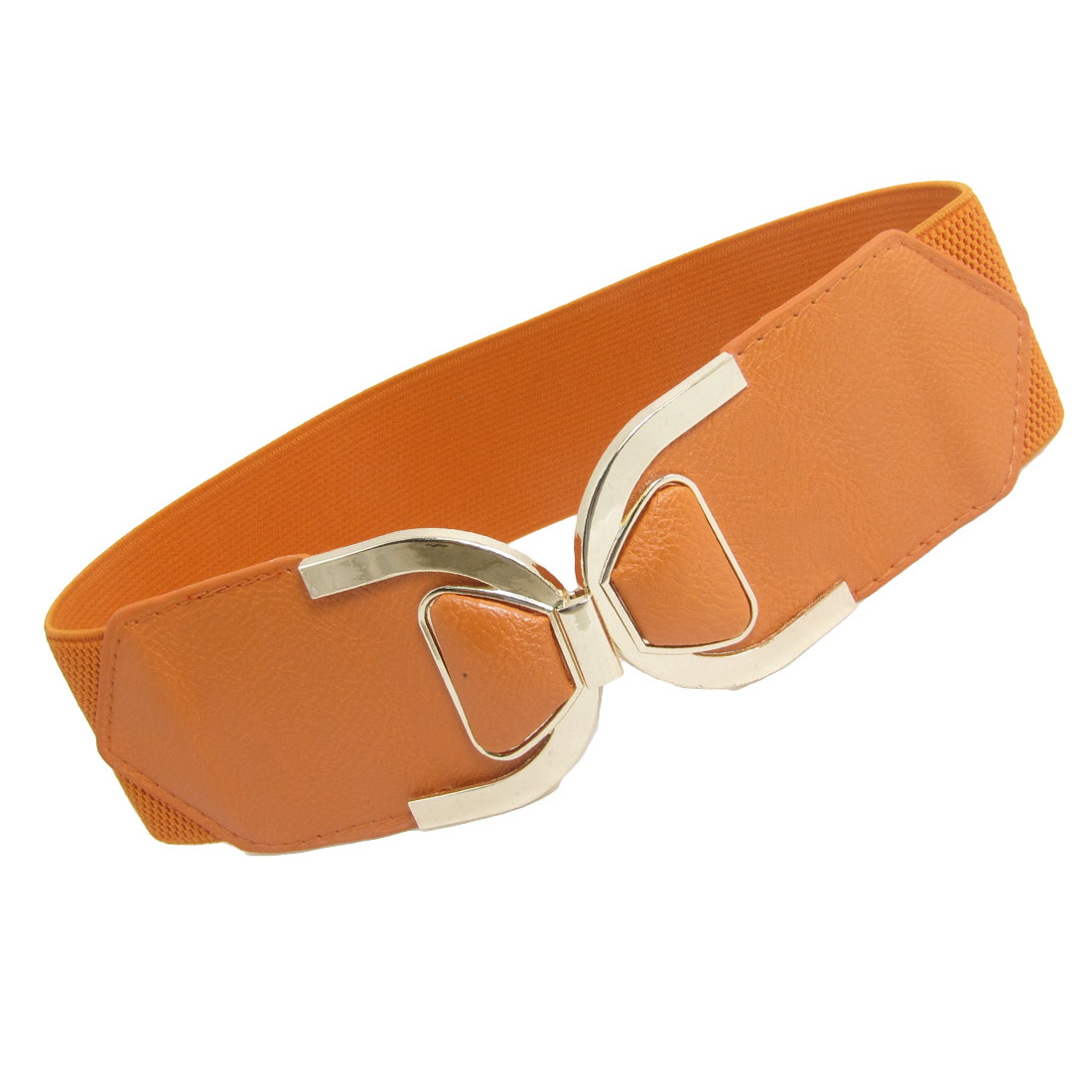 Interlock Buckle Orange Faux Leather Ends Cinch Belt for Women