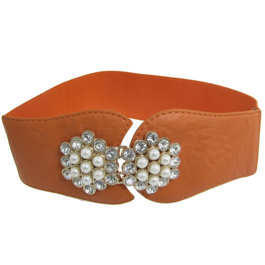 Ladies Plastic Crystals Decor Interlocking Buckle Waist Belt Orange