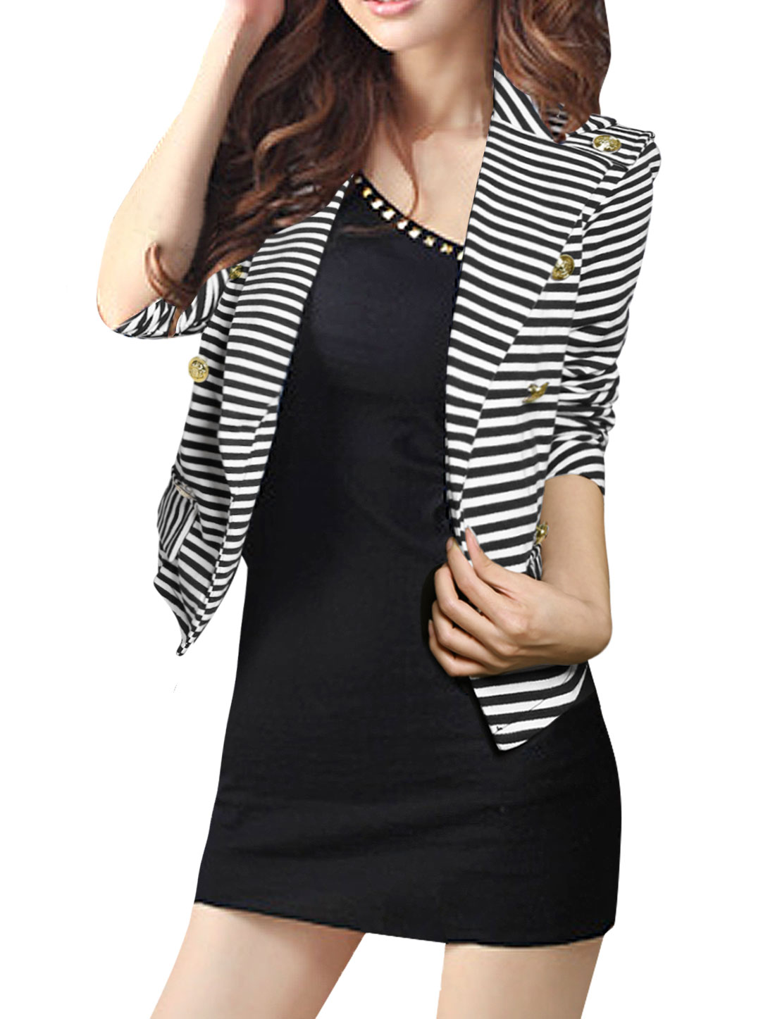 Woman Button-tab Epaulettes Long Sleeve Stripe Blazer Coat Black White S