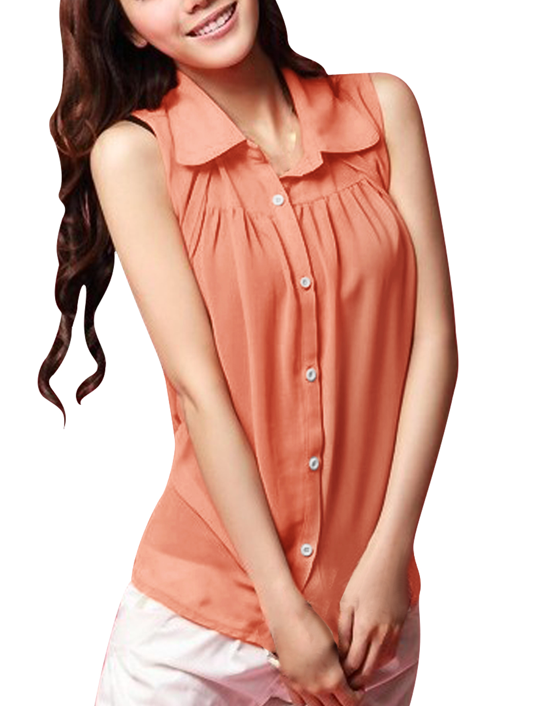 Women Point Collar Button up Semi Sheer Chiffon Blouse Salmon Pink XS