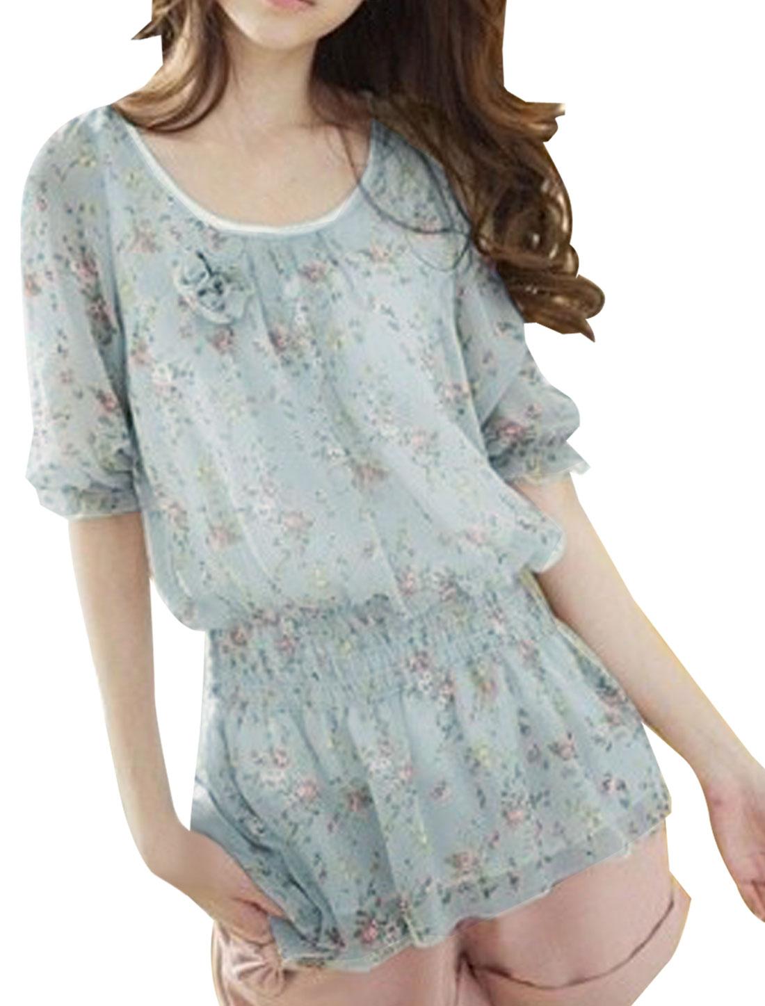 Ladies Gray-Blue Scoop Neck Half Sleeve Floral Prints Semi Sheer Blouse XS