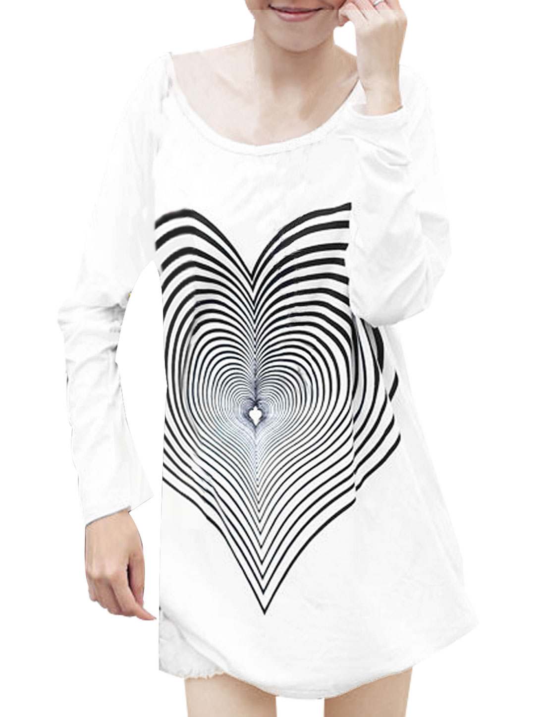 Lady White Scoop Neck Long Sleeve Hearts Design Casual Tunic Shirt XS