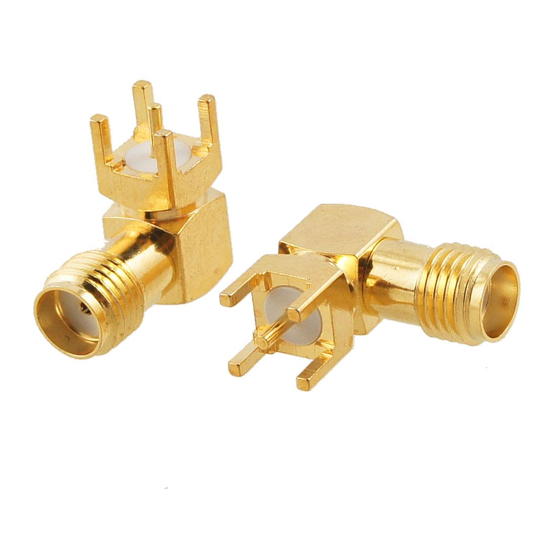 2 Pcs SMA Female Jack Panel Mount PCB Solder Connectors Gold Tone