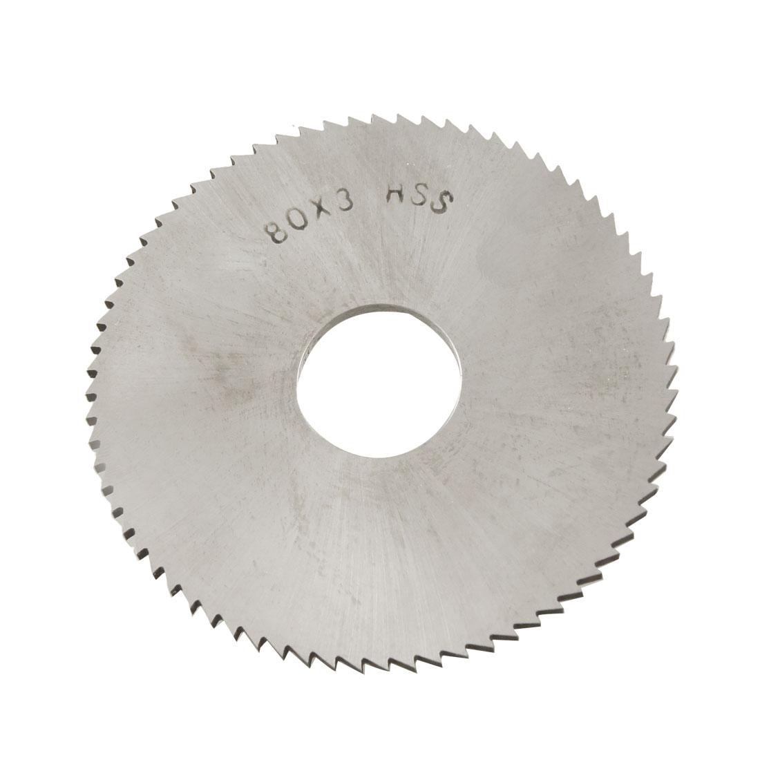 80mm OD 3mm Thickness 72T HSS Milling Cutter Slitting Saw