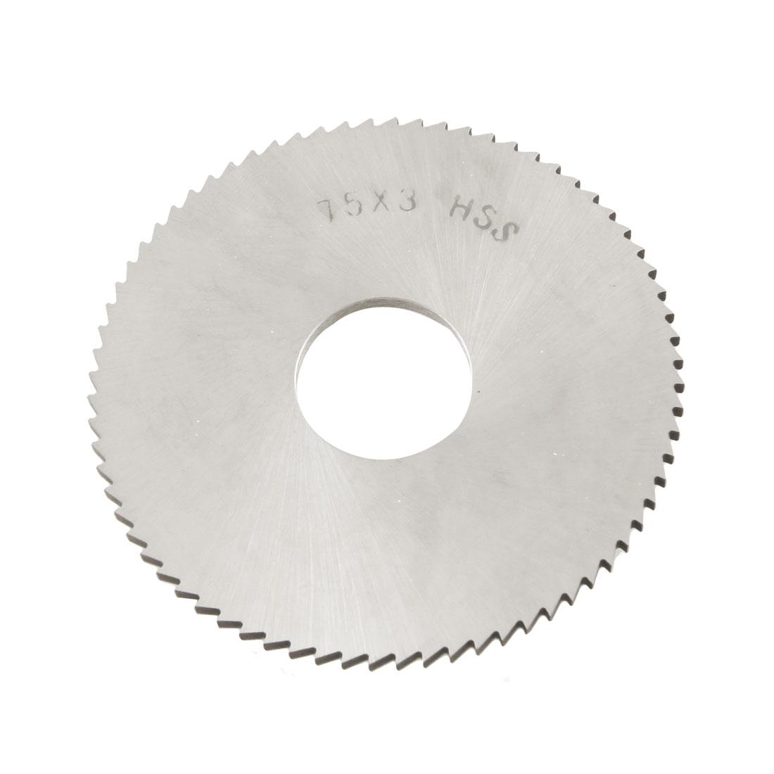 75mm x 22mm x 3mm 72T HSS Circular Slitting Saw Blade Cutter