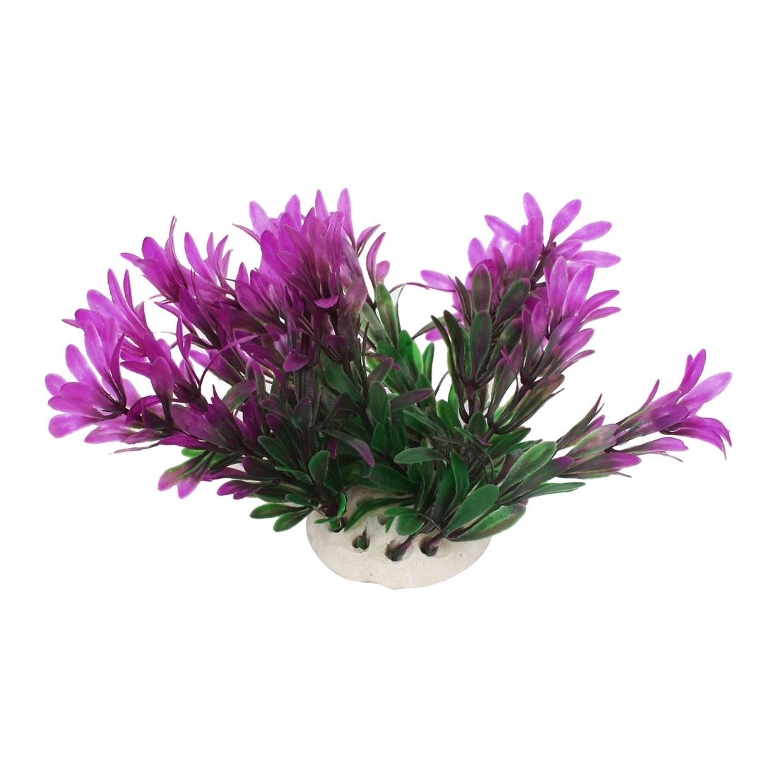 "Round Shape Ceramic Base Fuchsia Green Grass Ornament 3.9"" High for Aquarium"