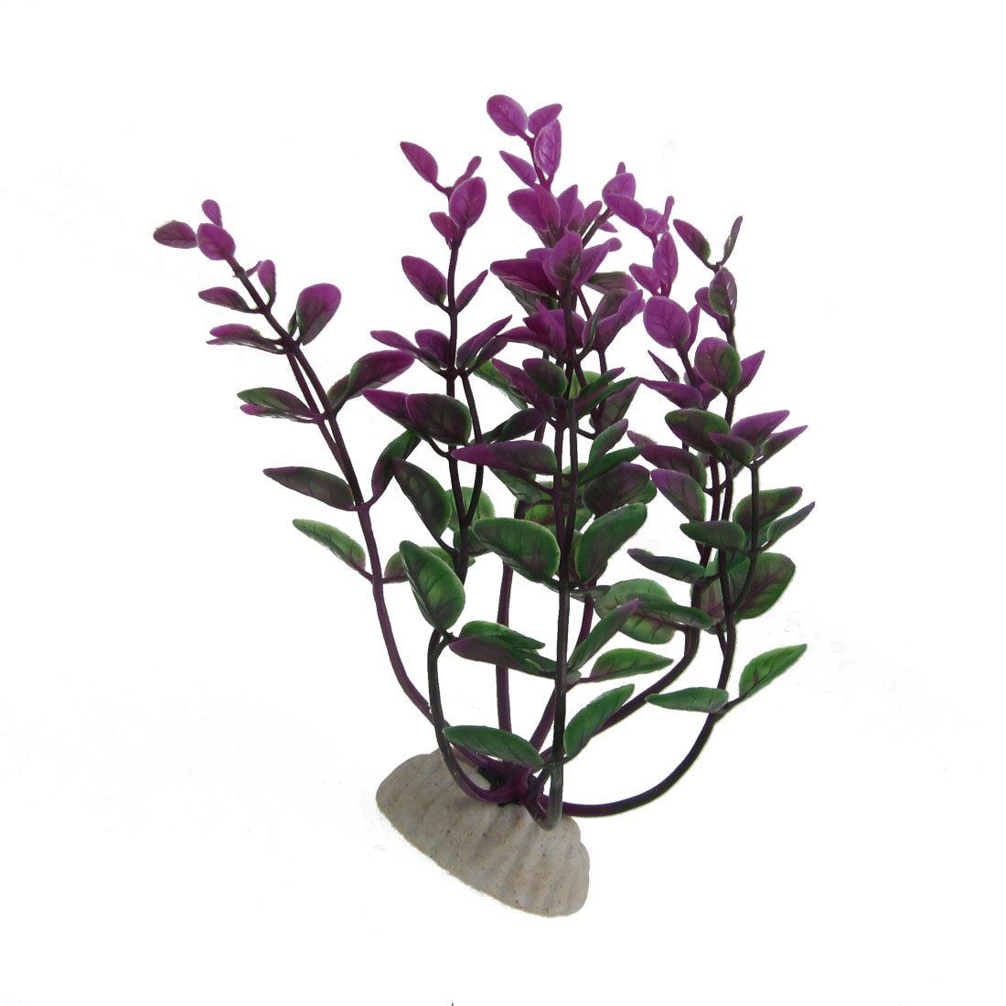 Ceramic Base Plastic Fuchsia Green Aquatic Grass Plant for Aquarium 5.9""