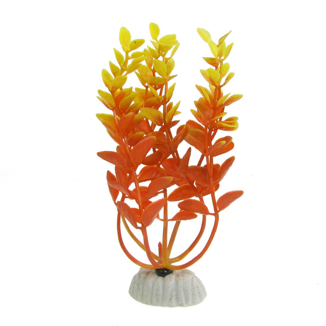 White Ceramic Base Plastic Orange Aquatic Grass Plant for Aquarium