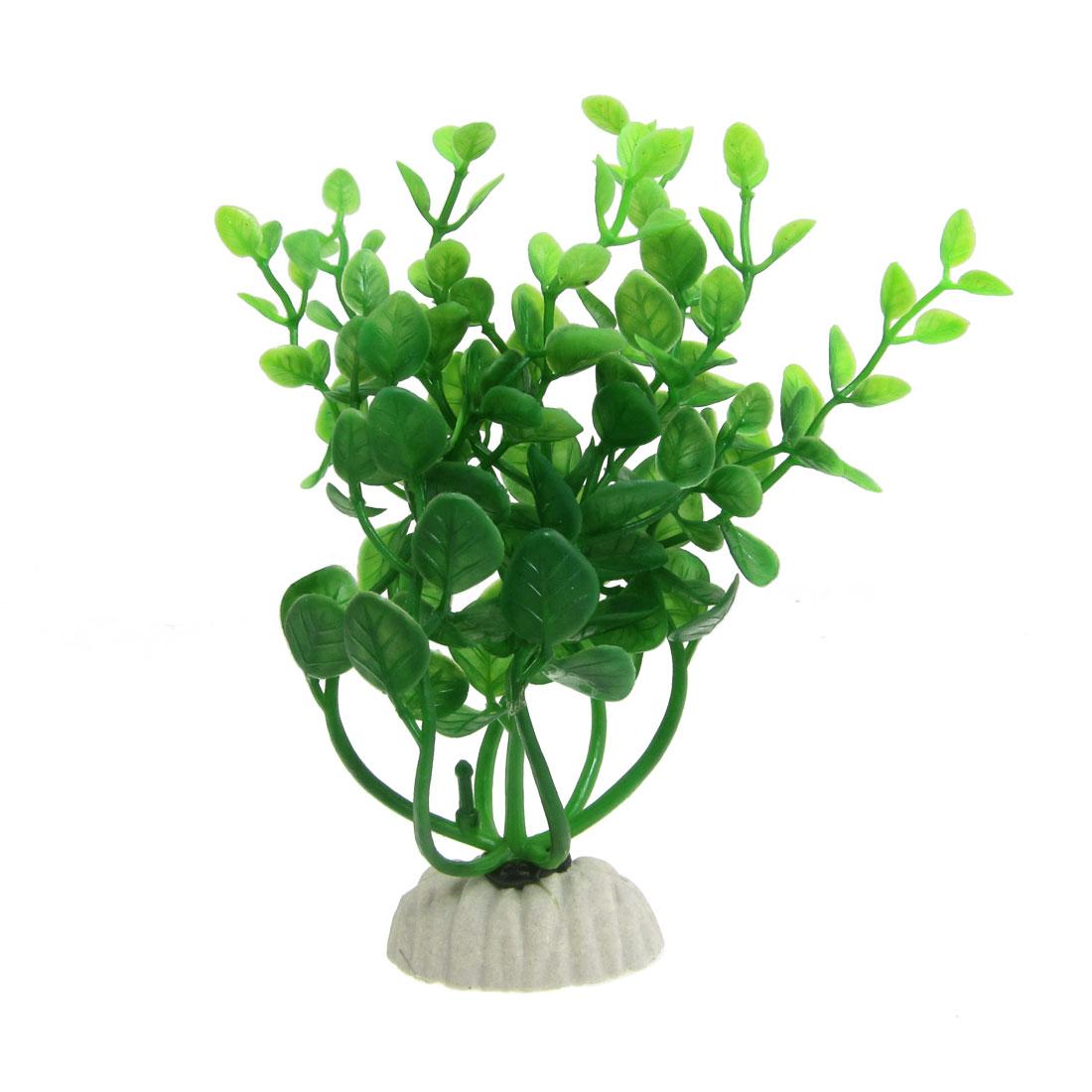Oval Shape Base Aquarium Landscaping Green Leaf Plastic Water Plants