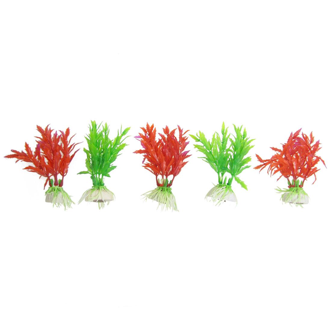 5 Pcs Aquarium Green Red Plastic Artificial Aquatic Grass Plant Adorn