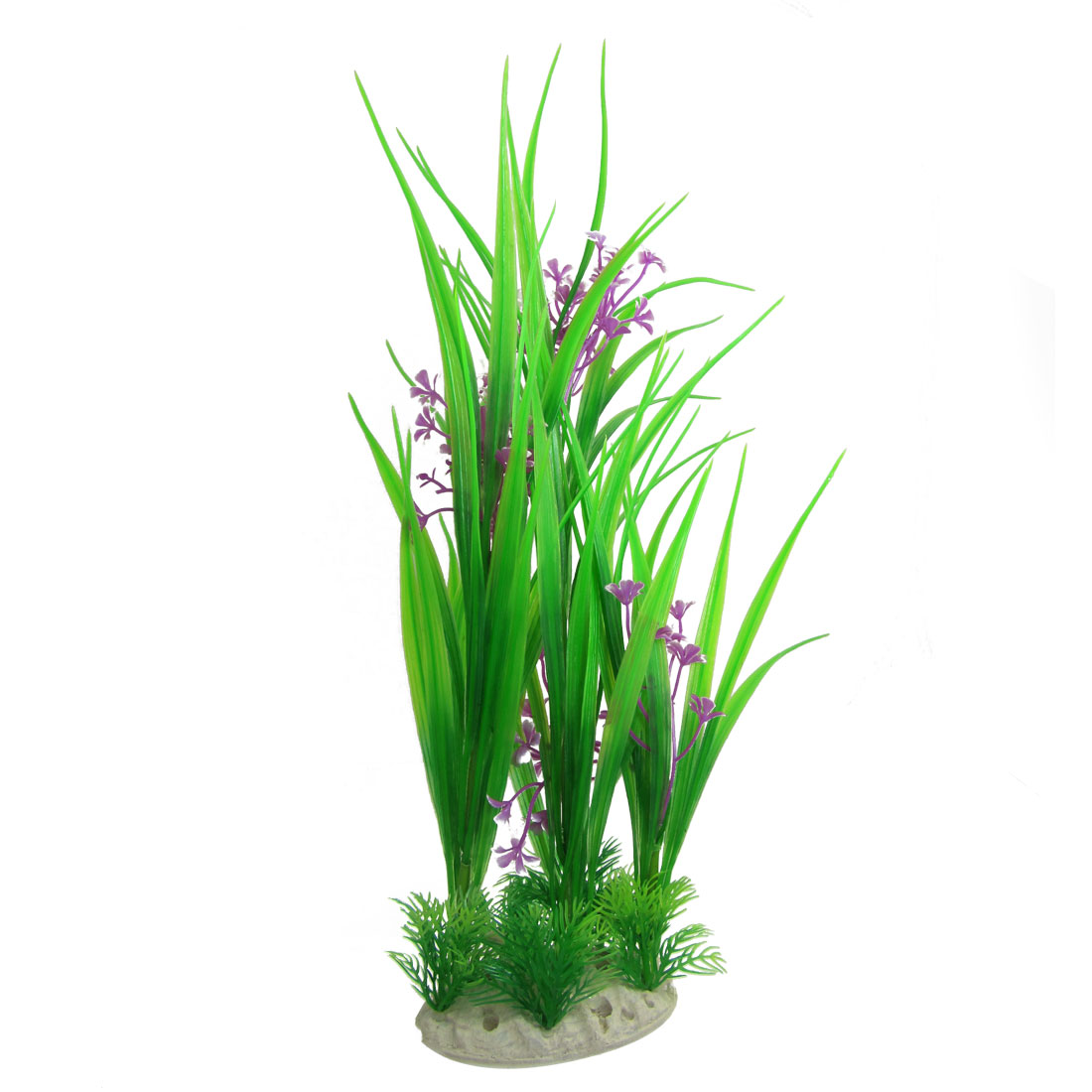 "17.3"" Purple Flowers Detail Green Emulational Plants Decor for Fish Tank"