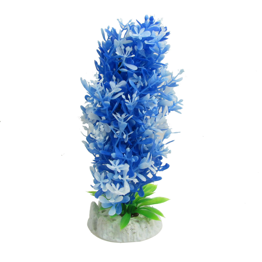 "Blue White Plastic Aquatic Water Plants Ornament 7.7"" Height for Fish Tank"