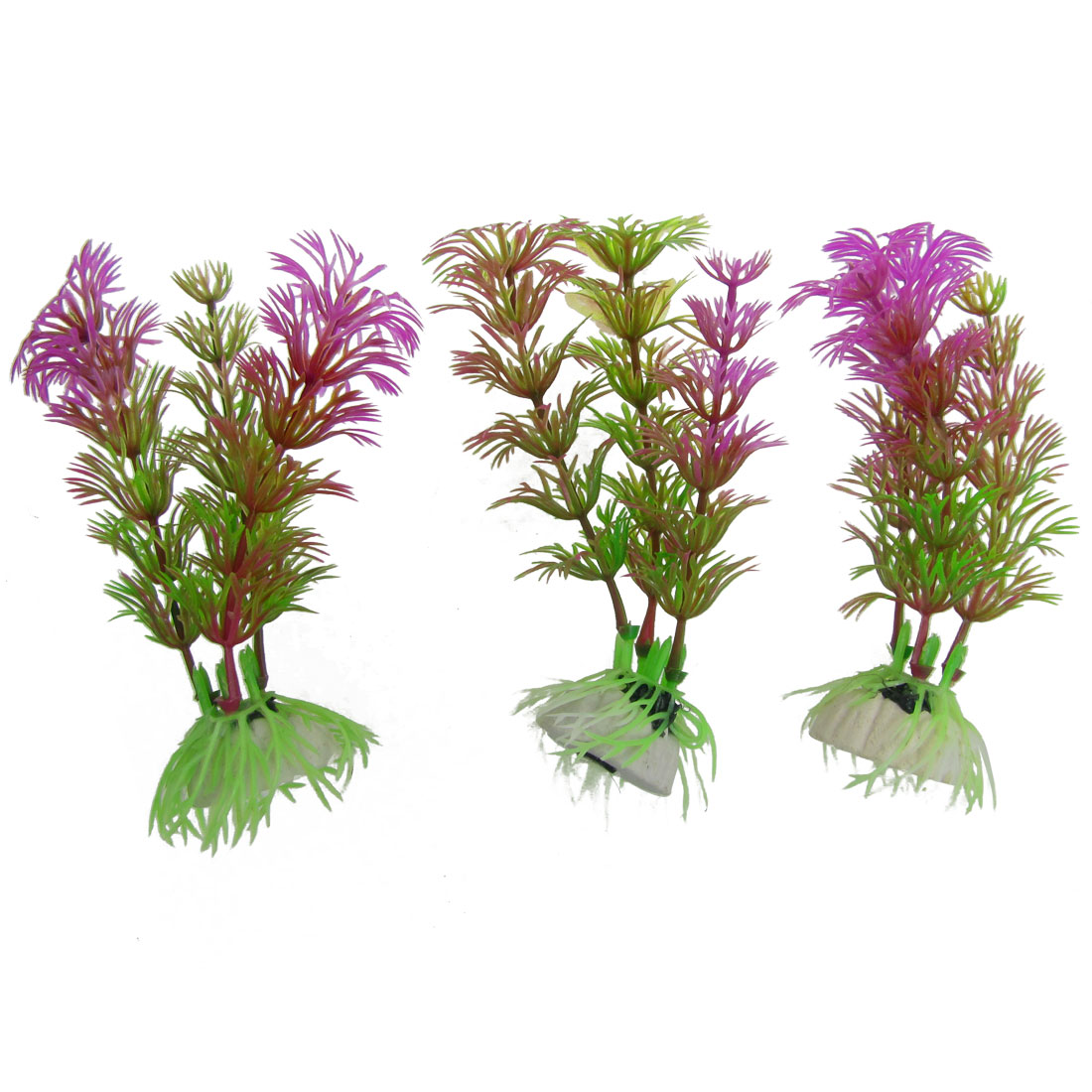 "Aquarium 3 Pieces 4.3"" High Green Purple Emulational Water Grasses Ornament"