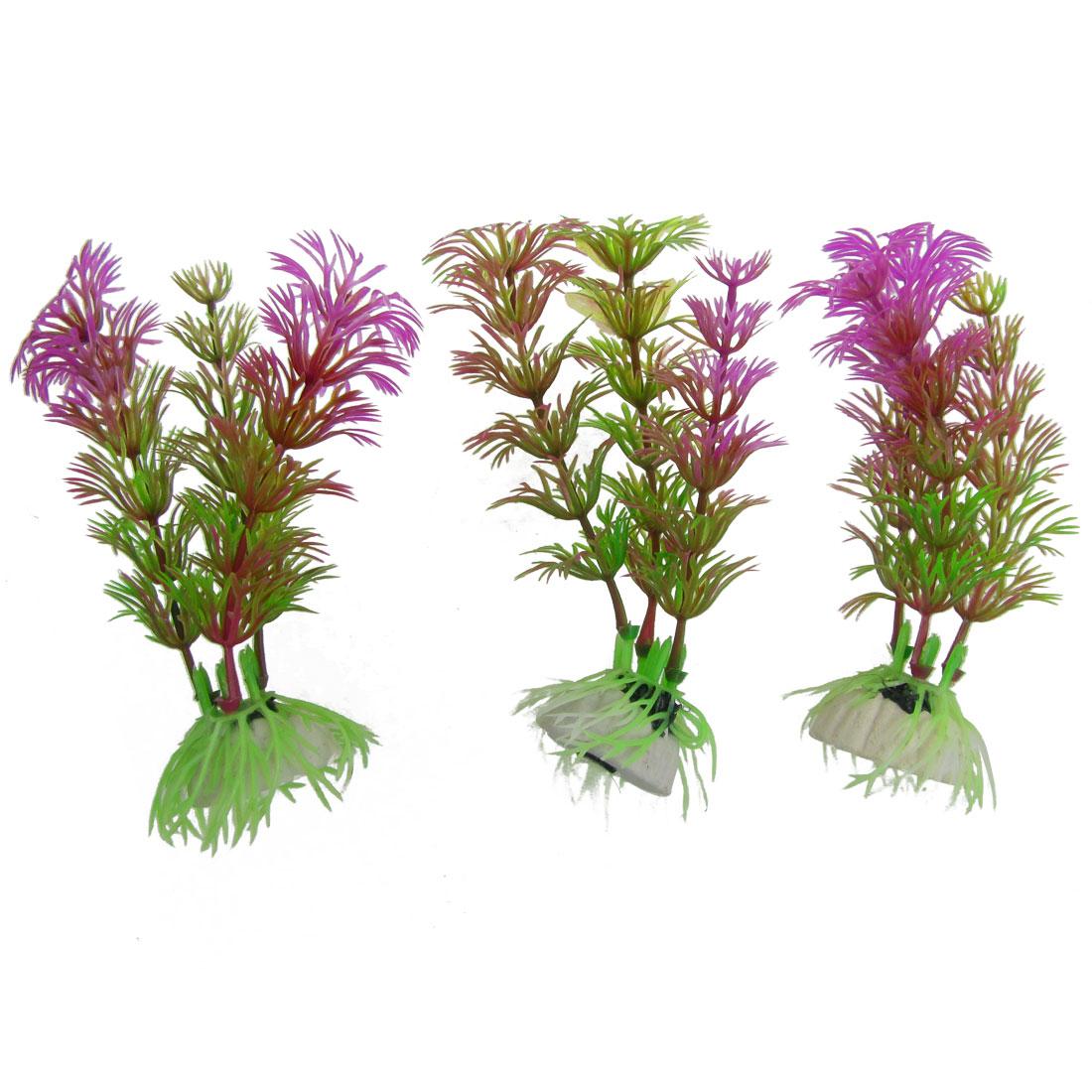 "Aquarium 3 Pieces 4.3"" High Green Purple Emulational Water Grasses Ornament"