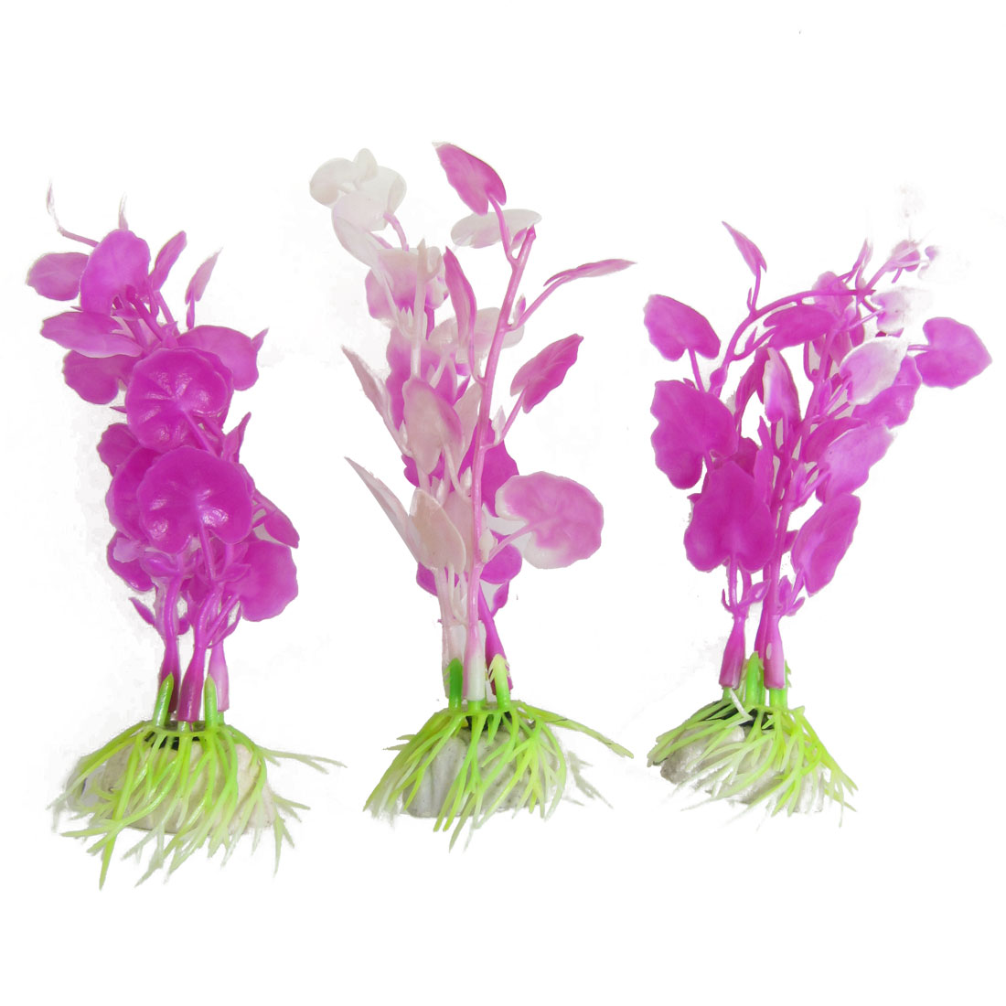 "3 Pcs 5.5"" Height Purple White Emulational Plants Decoration for Fish Tank"