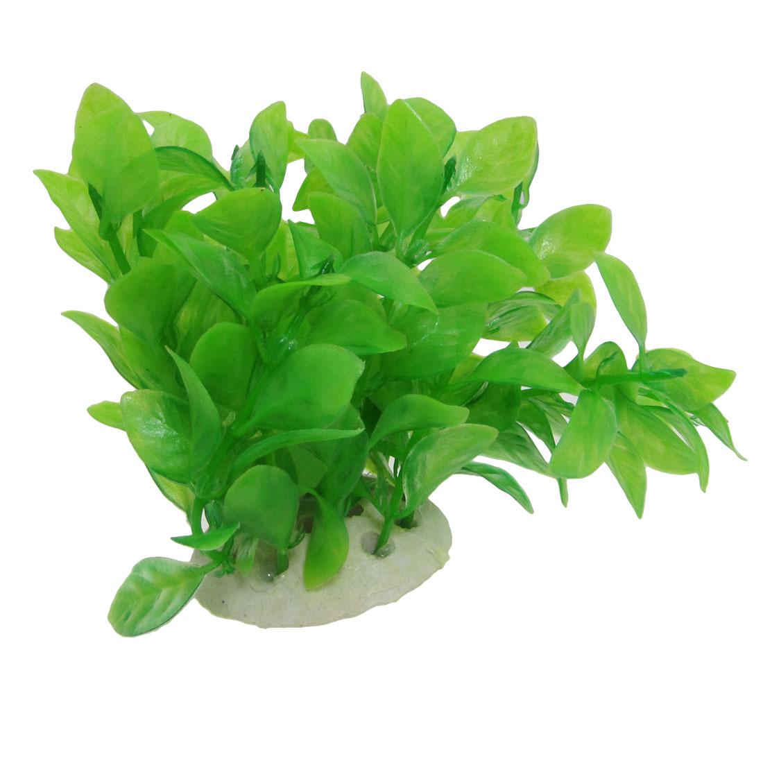 Green Artificial Leaf Plastic Plant Decor with Round Ceramic Base for Aquarium
