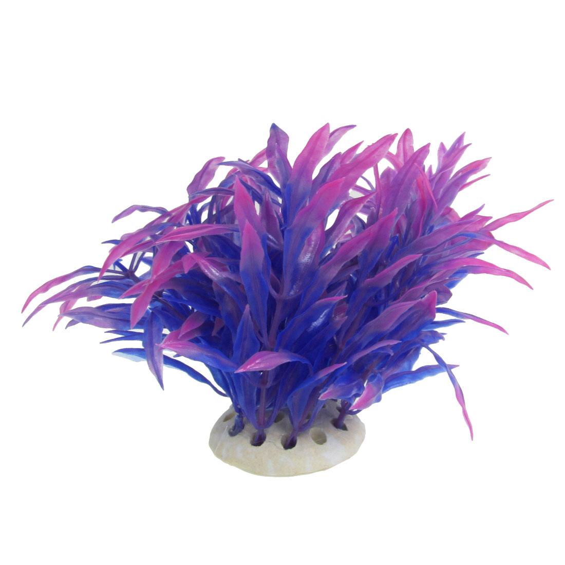 """3.9"""" Aquarium Tank Fuchsia Blue Artificial Plastic Leaf Plant Decoration"""