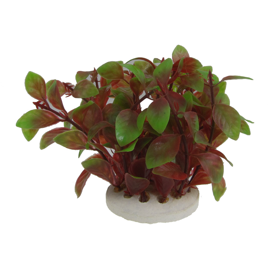 "Ceramic Base Red Pale Green Simulation Water Plants for Aquarium 3.1"" High"