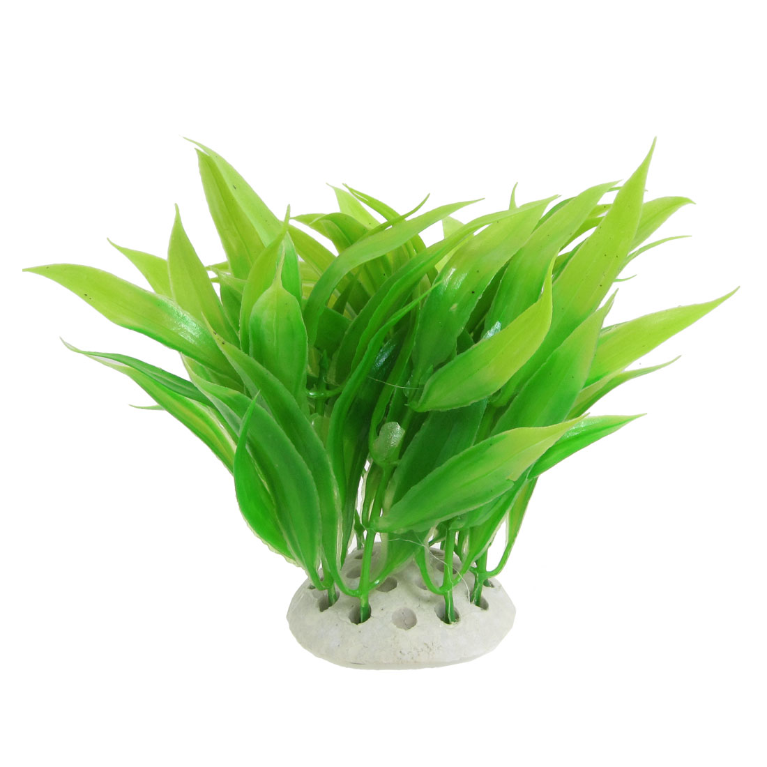 11cm High Green Aquatic Emulational Plants Decor for Fish Tank w Ceramic Base
