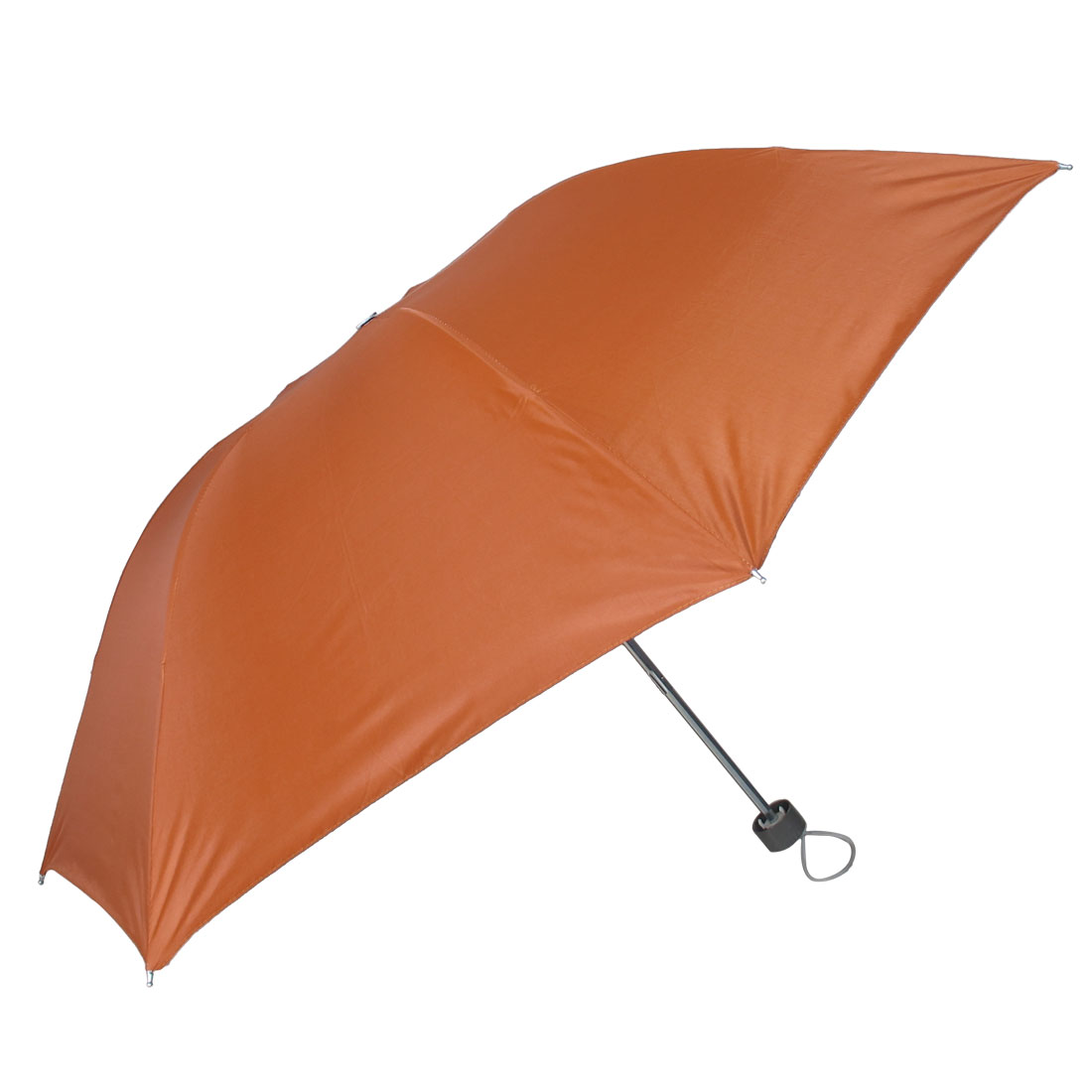 Plastic Handle Water Resistant Fabric Foldable Shaft Orange Rain Umbrella
