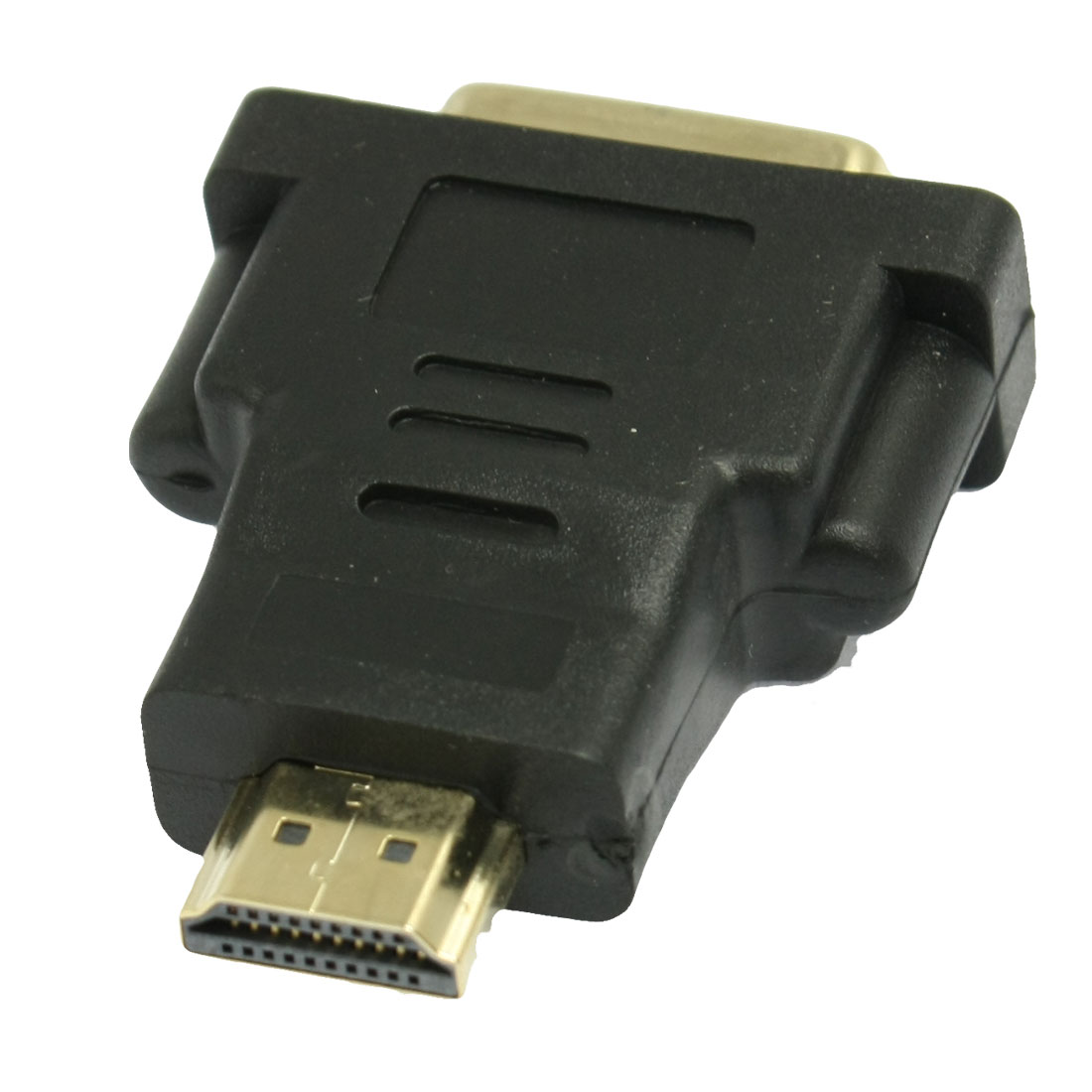 Black Gold Tone DVI Female to HDMI Male Adapter Audio Video Connector